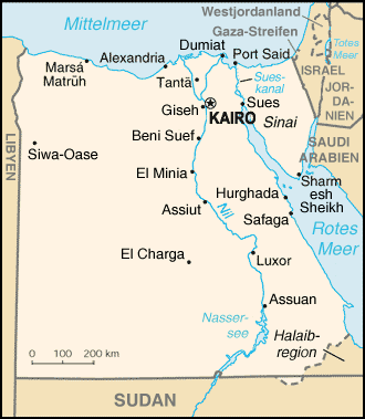 Auswandern Ägypten Karte