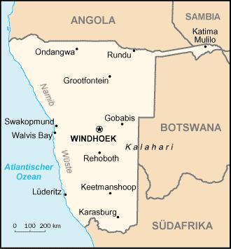 Auswandern Namibia Karte