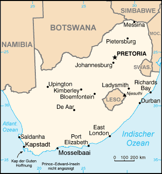 Auswandern Südafrika Karte
