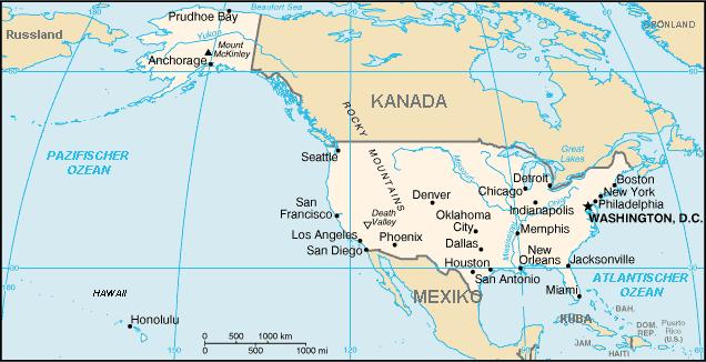 Auswandern USA Karte