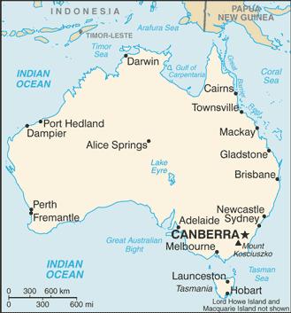 Auswandern Australien Karte