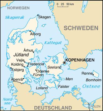 Auswandern Dänemark Karte