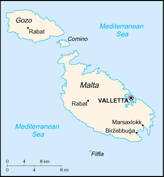Auswandern Malta Karte