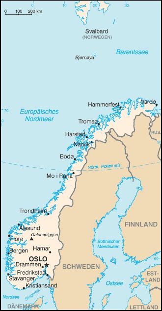Auswandern Norwegen Karte