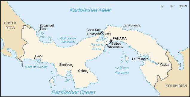 Auswandern Panama Karte