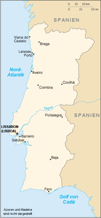 Auswandern Portugal Karte