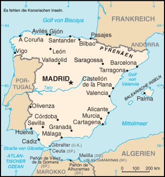 Auswandern Spanien Karte