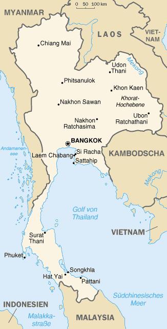 Auswandern Thailand Karte