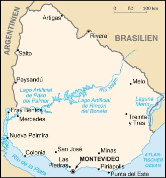 Auswandern Uruguay Karte