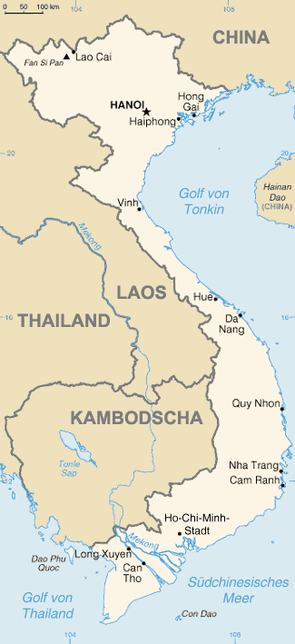 Auswandern Vietnam Karte